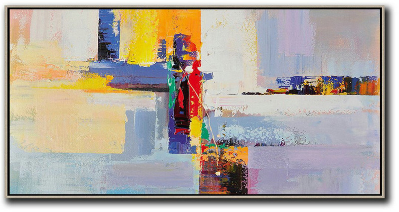 Horizontal Palette Knife Contemporary Art Panoramic Canvas Painting,Acrylic Painting On Canvas,White,Yellow,Purple,Red