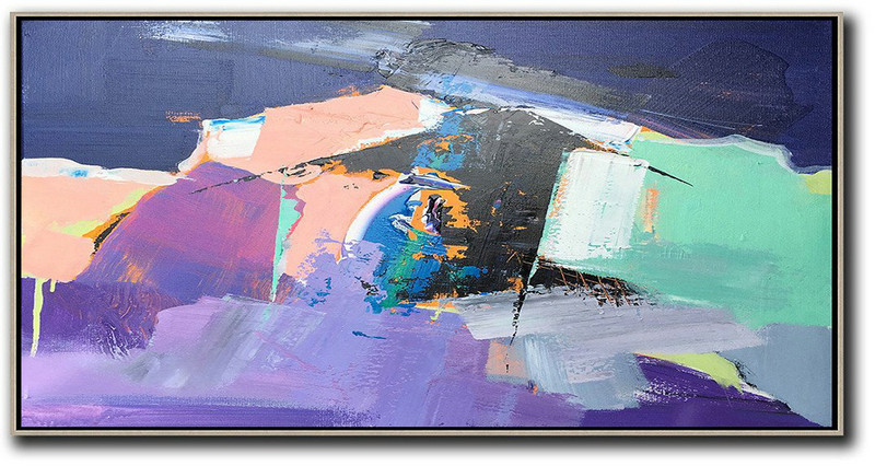 Horizontal Palette Knife Contemporary Art Panoramic Canvas Painting,Giant Canvas Wall Art,Pink,Purple,Black,Light Green