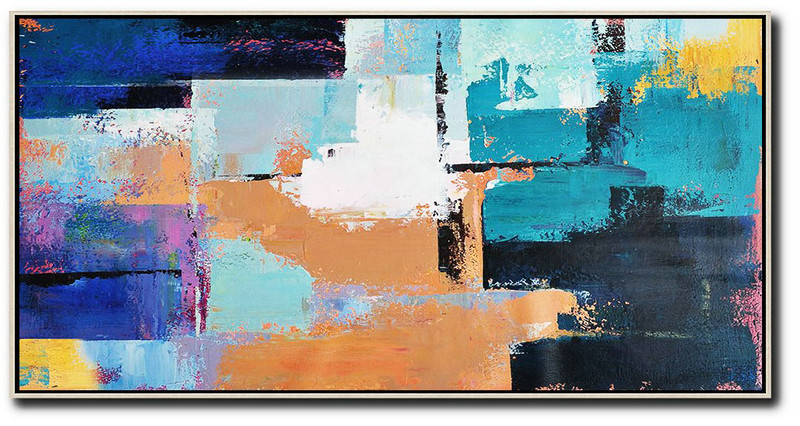Horizontal Palette Knife Contemporary Art Panoramic Canvas Painting,Abstract Painting On Canvas,White,Lake Blue,Blue,Black,Earthy Yellow