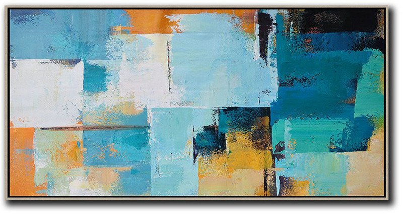 Horizontal Palette Knife Contemporary Art Panoramic Canvas Painting,Textured Painting Canvas Art,White,Blue,Yellow,Orange