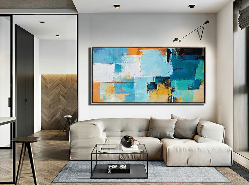 Horizontal Palette Knife Contemporary Art Panoramic Canvas Painting,Textured Painting Canvas Art,White,Blue,Yellow,Orange - Click Image to Close