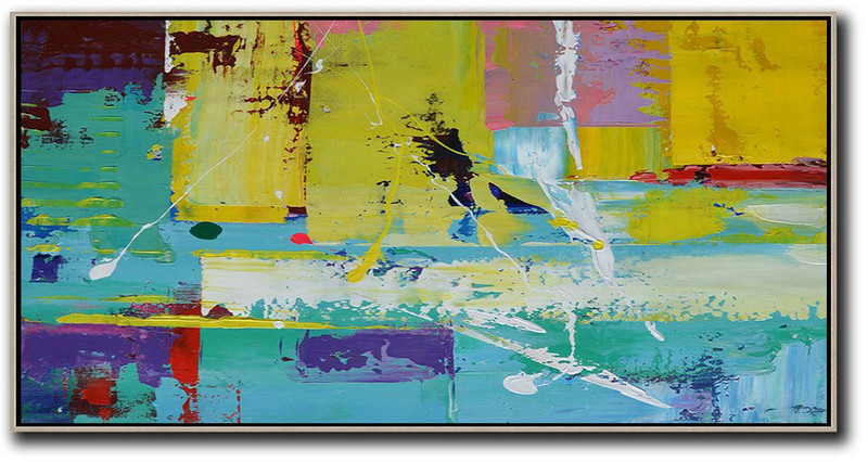 Horizontal Palette Knife Contemporary Art Panoramic Canvas Painting,Canvas Artwork For Sale,Yellow,Pink,White,Blue,Purple