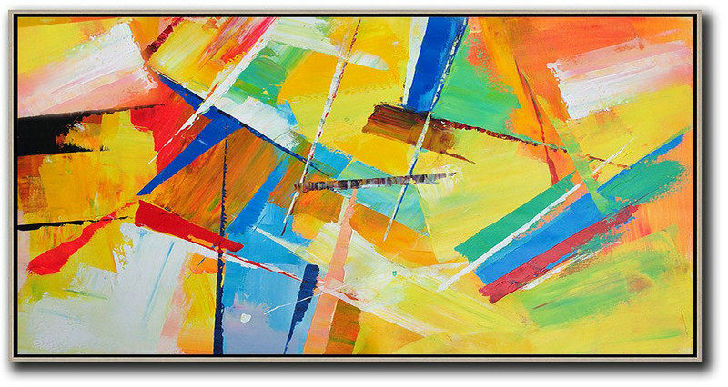 Horizontal Palette Knife Contemporary Art Panoramic Canvas Painting,Extra Large Canvas Painting,Yellow,Red,White,Blue,Green