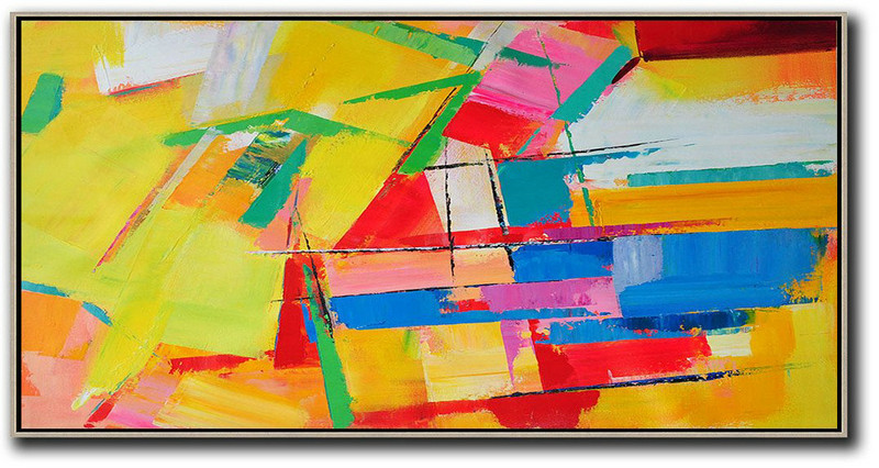 Horizontal Palette Knife Contemporary Art Panoramic Canvas Painting,Abstract Painting Modern Art,Yellow,Red,White,Blue