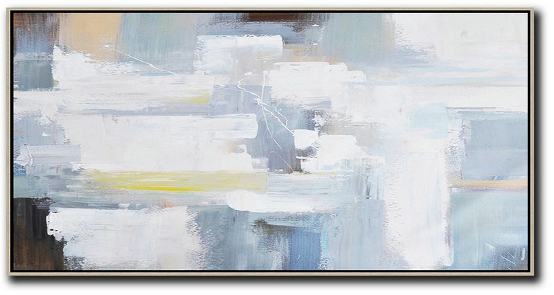 Horizontal Palette Knife Contemporary Art Panoramic Canvas Painting,Large Canvas Art,White,Grey,Yellow,Brown