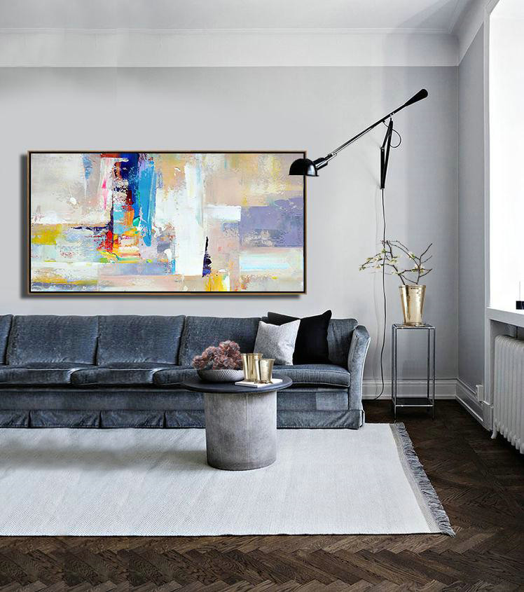 Horizontal Palette Knife Contemporary Art Panoramic Canvas Painting,Huge Wall Decor,Grey,White,Blue,Purple