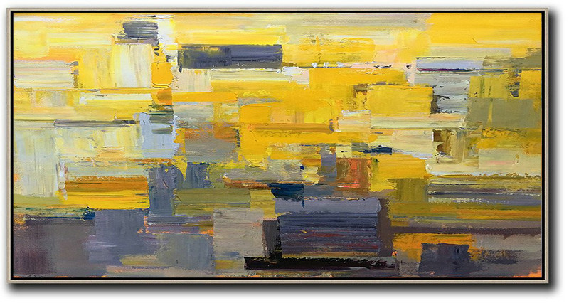 Horizontal Palette Knife Contemporary Art Panoramic Canvas Painting,Big Art Canvas,Yellow,Grey,Brown,White