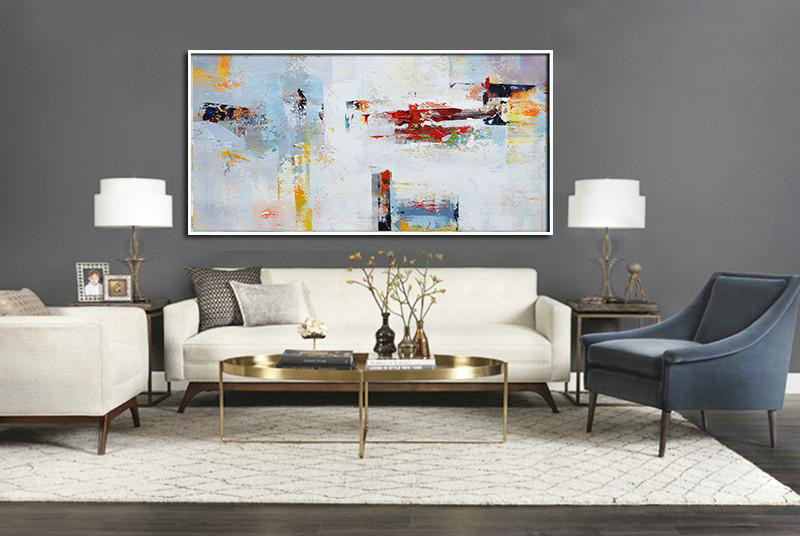 Horizontal Palette Knife Contemporary Art Panoramic Canvas Painting,Decorating A Big Living Room,Grey,White,Red,Yellow