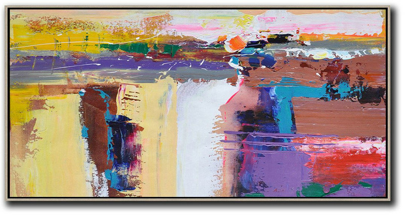 Horizontal Palette Knife Contemporary Art Panoramic Canvas Painting,Size Extra Large Abstract Art,Yellow,White,Brown,Purple