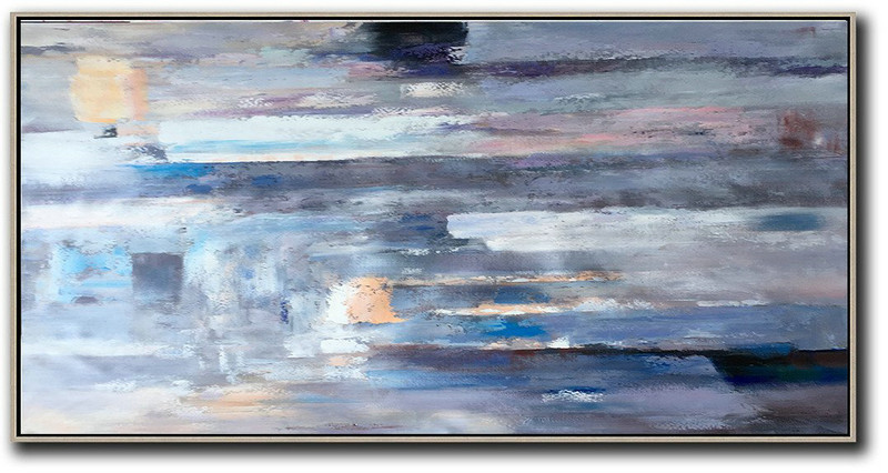 Horizontal Palette Knife Contemporary Art,Large Wall Art Canvas,Grey,White,Black,Pink