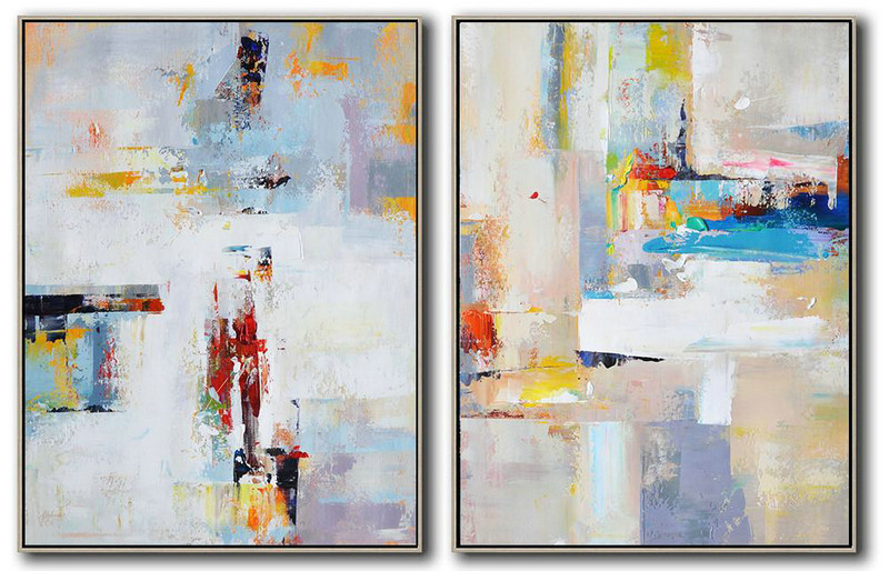 Set Of 2 Contemporary Art On Canvas,Hand Painted Original Art,White,Purple,Red,Grey,Yellow