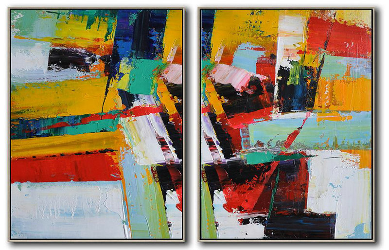 Set Of 2 Contemporary Art On Canvas,Large Wall Art Home Decor,Yellow,Red,White,Dark Blue,Black