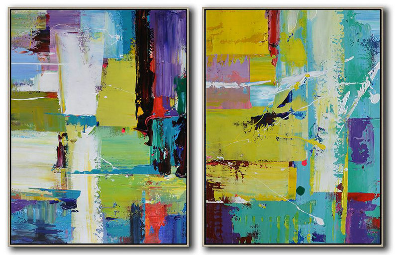 Set Of 2 Contemporary Art On Canvas,Modern Paintings On Canvas,Yellow,Purple,White,Blue