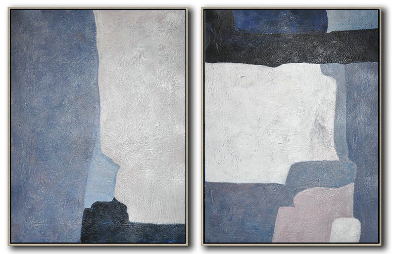 Set Of 2 Contemporary Art On Canvas,Extra Large Artwork,White,Grey,Dark Blue,Black