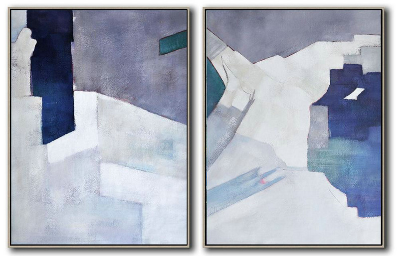 Set Of 2 Contemporary Art On Canvas,Large Contemporary Painting,White,Grey,Dark Blue