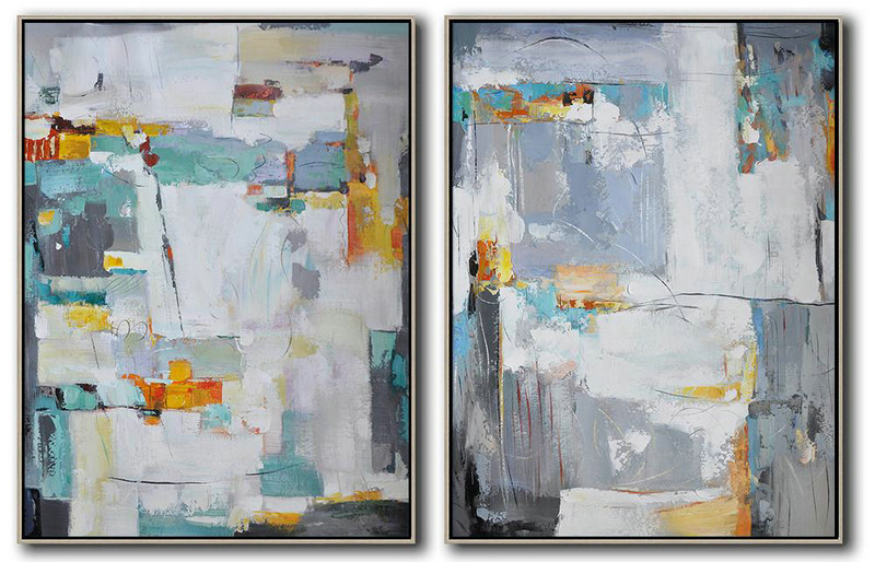 Set Of 2 Contemporary Art On Canvas,Large Wall Canvas,White,Grey,Yellow