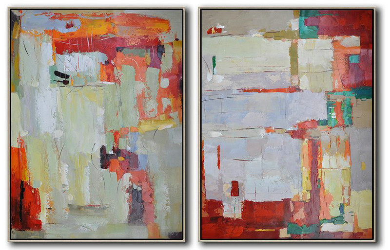 Set Of 2 Contemporary Art On Canvas,Size Extra Large Abstract Art,Red,Grey,Orange,Green