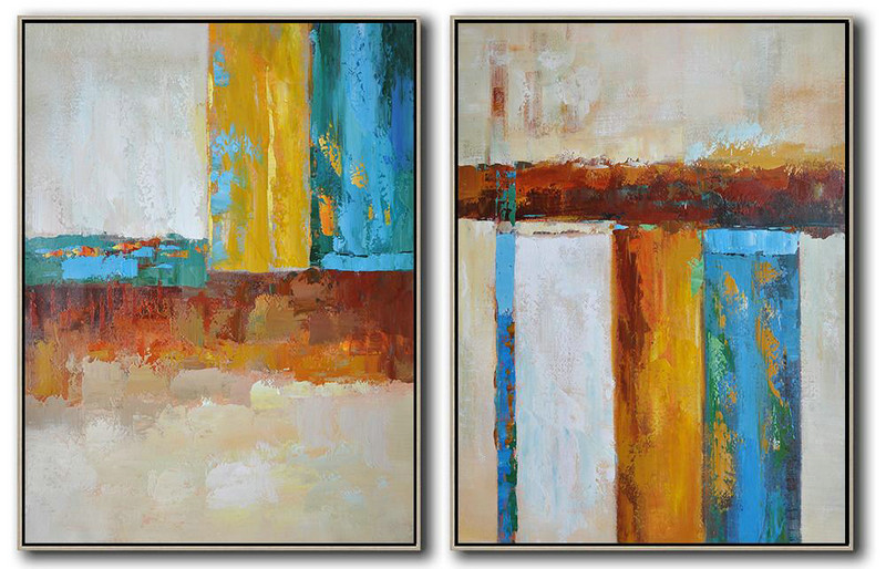 Set Of 2 Contemporary Art On Canvas,Modern Art Abstract Painting,Brown,Yellow,Blue