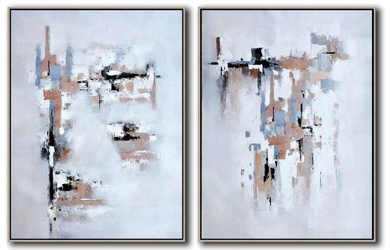 Set Of 2 Contemporary Art On Canvas,Acrylic Painting On Canvas,White,Grey,Black,Earthy Yellow