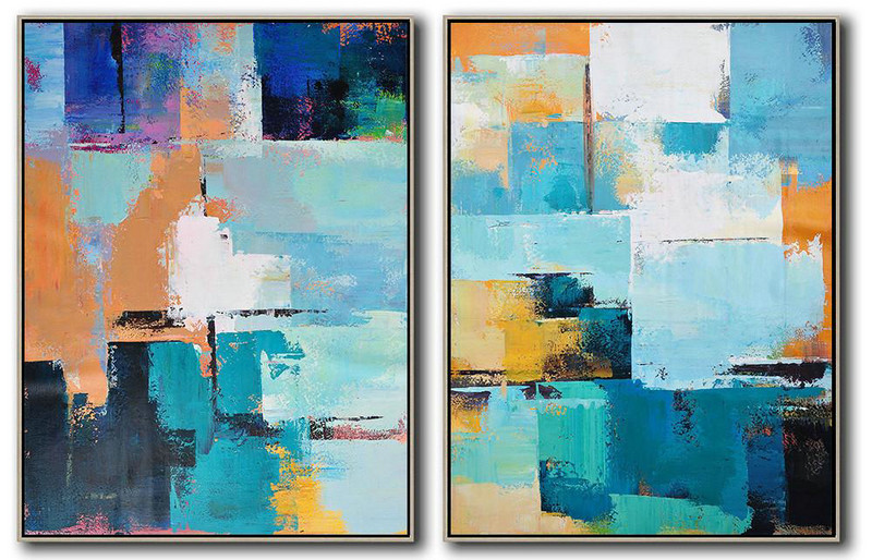 Set Of 2 Contemporary Art On Canvas,Abstract Oil Painting,Blue,Yellow,Sky Blue,White,Beige