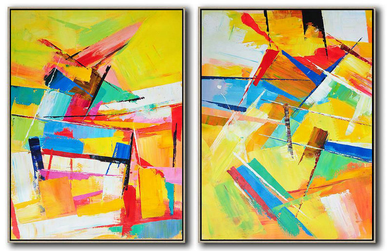 Set Of 2 Contemporary Art On Canvas,Large Paintings For Living Room,Yellow,Orange,Red,Blue