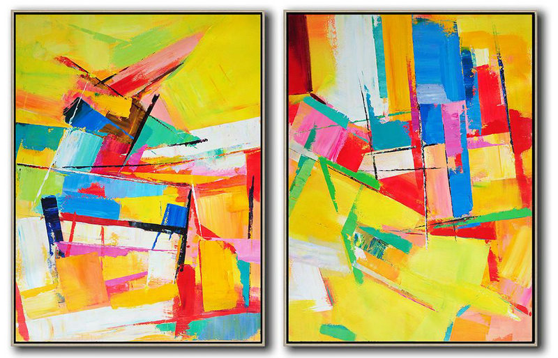 Set Of 2 Contemporary Art On Canvas,Huge Abstract Canvas Art,Yellow,Red,Blue,Green,Purple