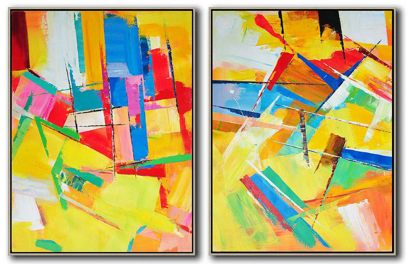 Set Of 2 Contemporary Art On Canvas,Acrylic Painting On Canvas,Red,Yellow,Blue,Purple,Green