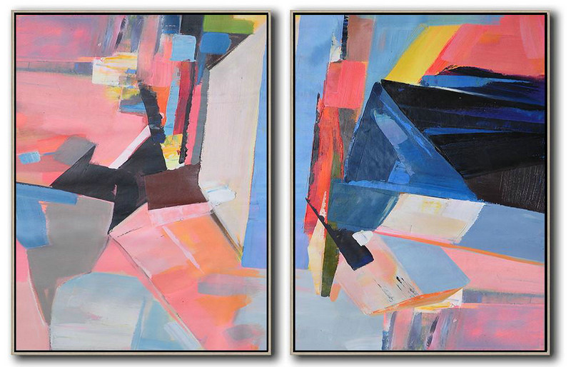 Set Of 2 Contemporary Art On Canvas,Extra Large Paintings,Pink,Grey,Blue,Black