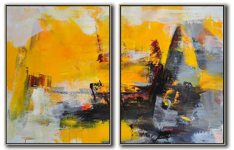 Set Of 2 Contemporary Art On Canvas,Big Art Canvas,Yellow,Grey,Black
