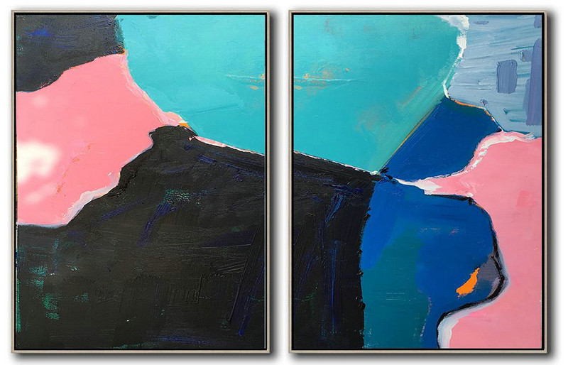 Set Of 2 Contemporary Art On Canvas,Acrylic Painting Large Wall Art,Lake Blue,Black,Pink,Dark Blue,Grey