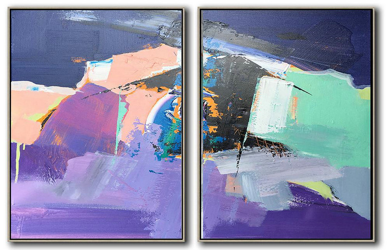 Set Of 2 Contemporary Art On Canvas,Acrylic Painting Wall Art,Dark Blue,Nude,Purple,Light Green,White