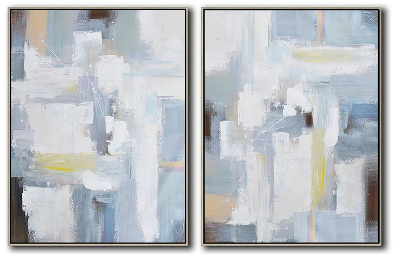 Set Of 2 Contemporary Art On Canvas,Canvas Wall Paintings,Grey,White,Brown,Blue