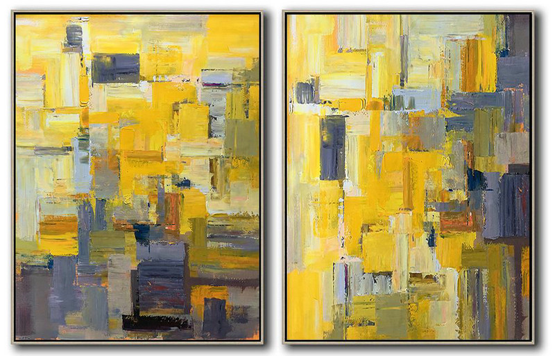 Set Of 2 Contemporary Art On Canvas,Acrylic Painting Large Wall Art,Yellow,Purple,Taupe,Brown