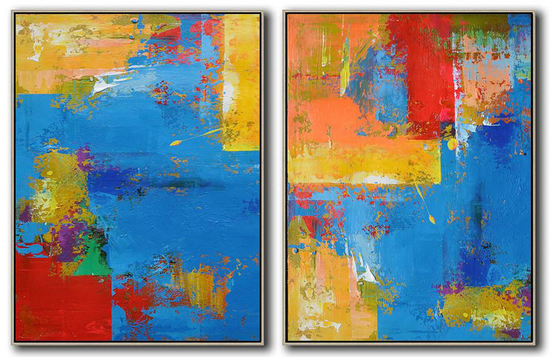 Set Of 2 Contemporary Art On Canvas,Large Oil Canvas Art,Blue,Red,Yellow