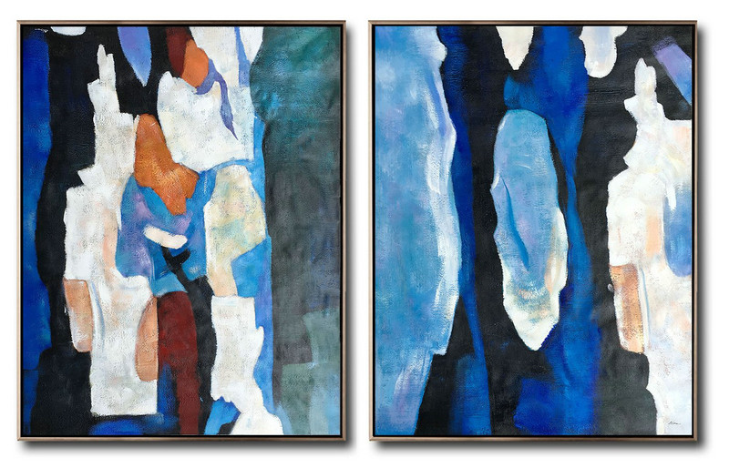 Large Set Of 2 Blue Minimalist Painting On Canvas,Hand-Painted Canvas Art,Blue,Orange,Brown,Black,White