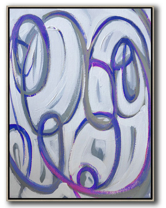 Vertical Contemporary Art,Xl Large Canvas Art,Blue,White,Pink,Purple