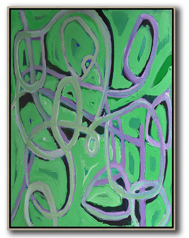 Vertical Contemporary Art,Living Room Wall Art,Green,Purple,Black