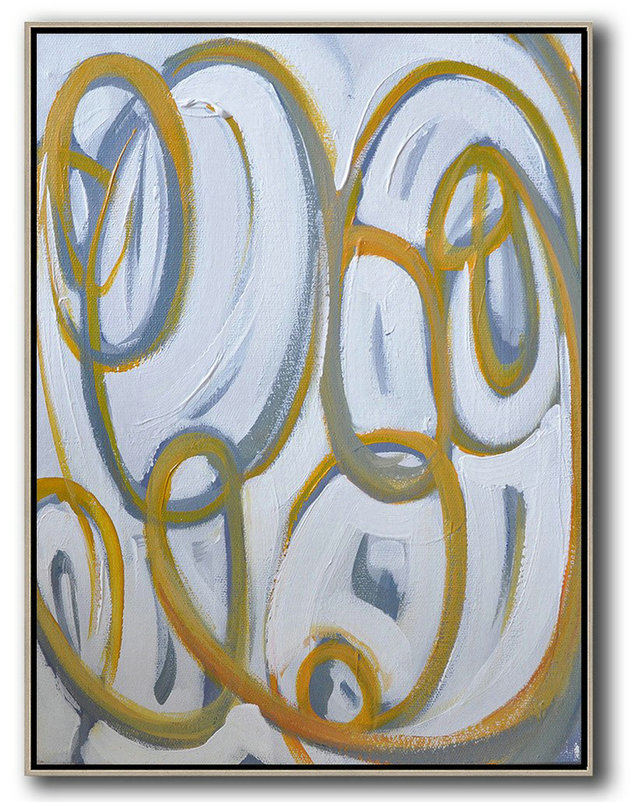 Vertical Contemporary Art,Hand Painted Acrylic Painting,Yellow,White,Purple Grey
