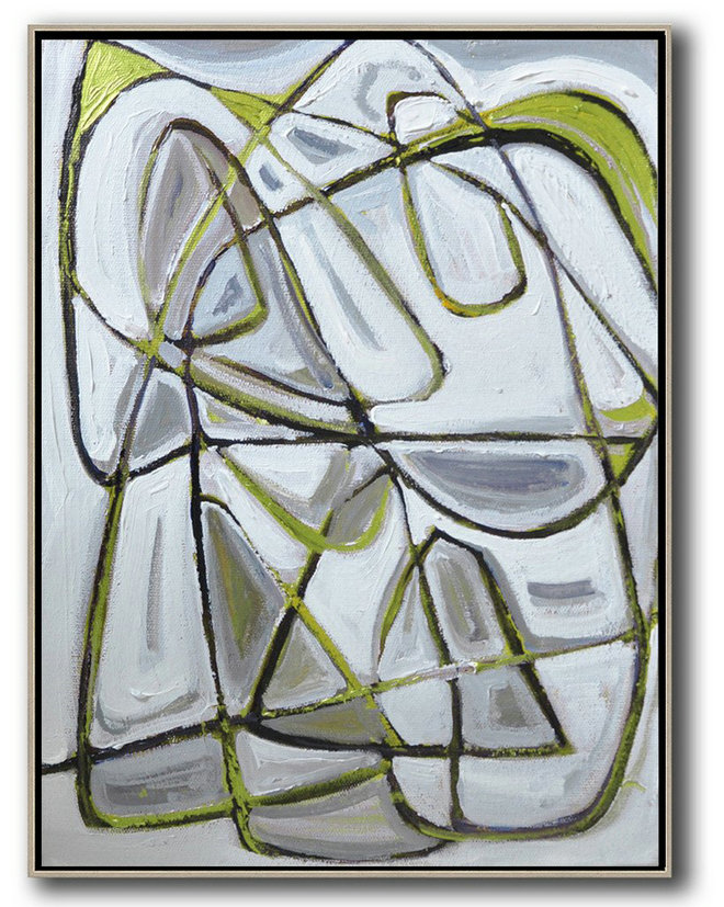 Vertical Contemporary Art,Hand-Painted Contemporary Art,Grey,Brown,Light Green,White,Black