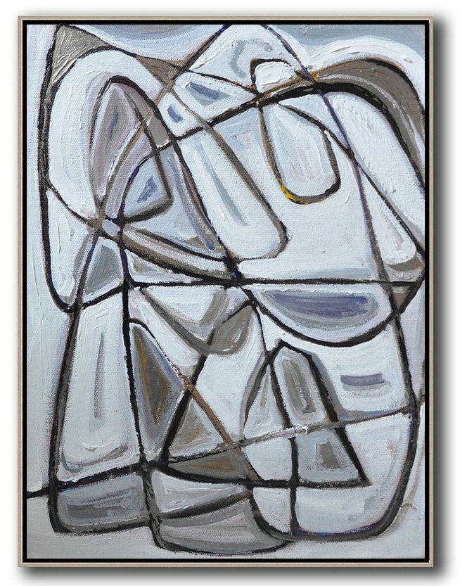 Vertical Contemporary Art,Abstract Art Decor,Contemporary Painting,Grey,Brown,White,Black