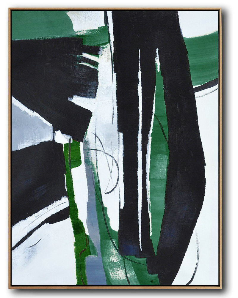 Hand Painted Large Vertical Contemporary Painting On Canvas,Abstract Painting On Canvas,Black,Dark Green,White