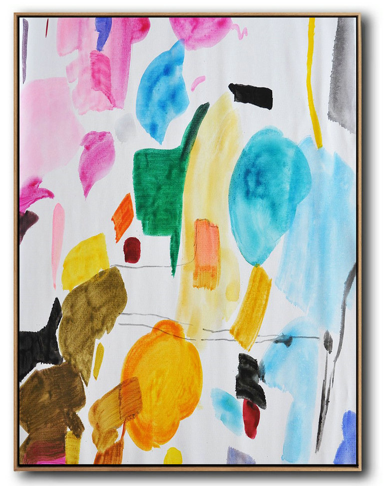 Hand Painted Large Vertical Contemporary Painting On Canvas,Large Abstract Art Handmade Acrylic Painting,Pink,Yellow,Sky Blue,Green,Black,Brown