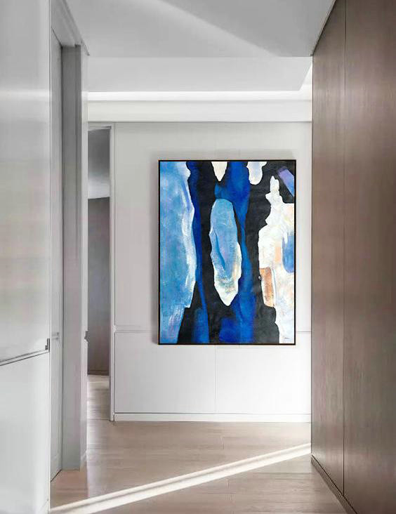 Hand Painted Large Vertical Contemporary Painting On Canvas,Textured Painting Canvas Art,Black,Blue,White,Yellow
