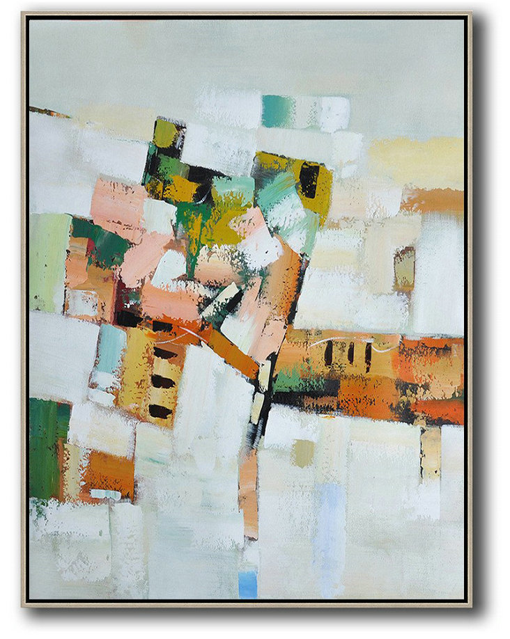Vertical Palette Knife Contemporary Art,Modern Art Abstract Painting,Grey,White,Yellow,Orange,Pink