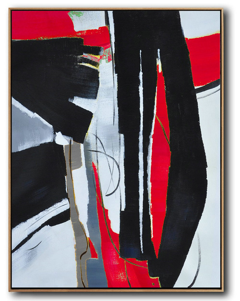 hand painted large vertical red contemporary painting on canvas original abstract painting