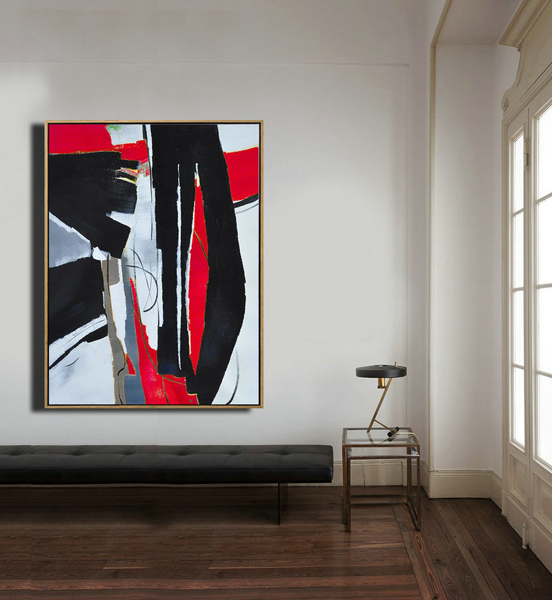 Hand Painted Large Vertical Red Contemporary Painting On Canvas,Original Abstract Painting Canvas Art,Black,White,Red,Grey,Pale Blue