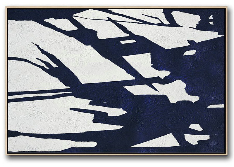 Horizontal Abstract Painting Navy Blue Minimalist Painting On Canvas,Original Art Acrylic Painting #V5U4