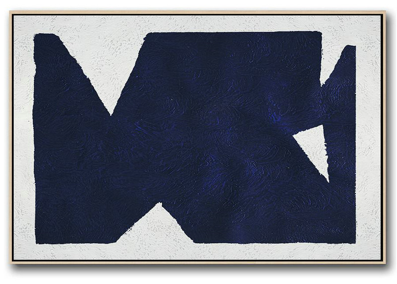 Horizontal Abstract Painting Navy Blue Minimalist Painting On Canvas,Huge Abstract Canvas Art #R4X9
