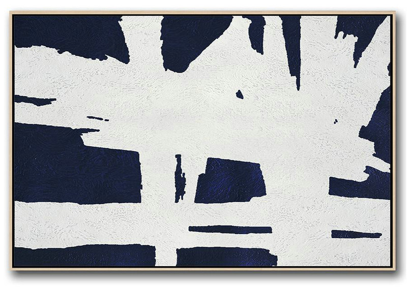 Horizontal Abstract Painting Navy Blue Minimalist Painting On Canvas,Big Canvas Painting #J6L2