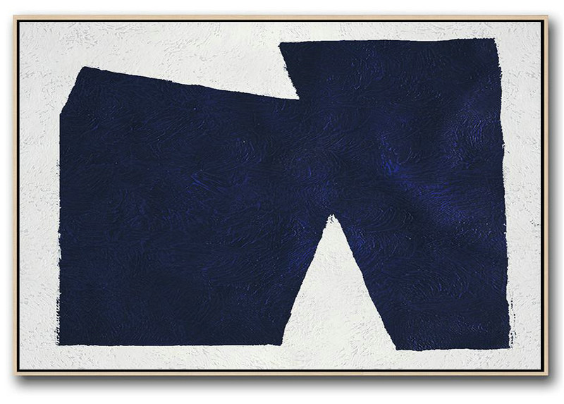 Horizontal Abstract Painting Navy Blue Minimalist Painting On Canvas,Extra Large Artwork #W7I4